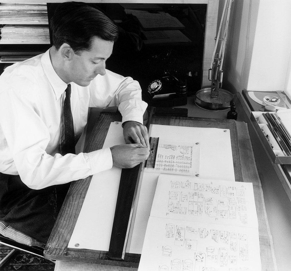 Michael Ventris copying Linear B inscriptions from Arthur Evans's Scripta Minoa, 1953