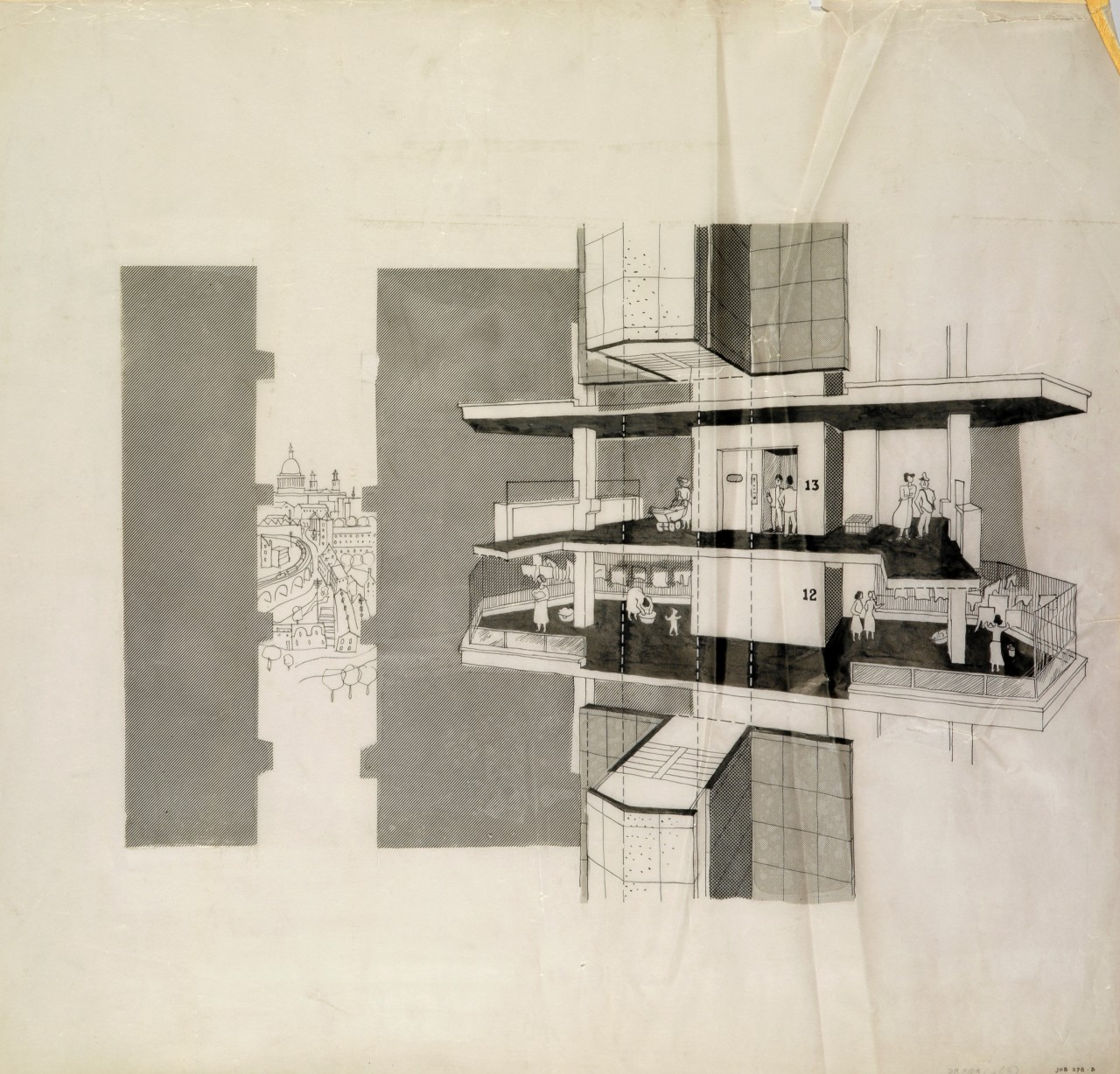Designs for the Claredale Street estate, Bethnal Green, London: section showing residents on the 12th and 13th floor balcony areas of Block A1 (Keeling House)